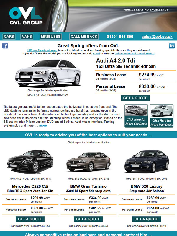 Car Leasing Email Campaign